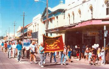 Miners' parade in Cessnock, 1986